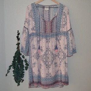 Knox Rose Boho Print Dress Sz S